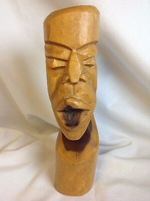 Vintage African Tribal Art Sculpture Solid Wood Carved Head Bust Statue Figure