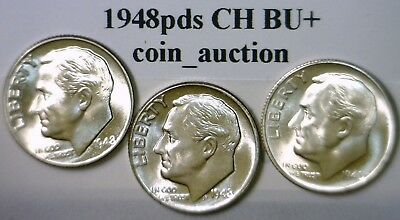 1948 p d & s CH BU SILVER Roosevelt Dimes FLASHY Lot of 3 Coins NO RES FREE SHIP