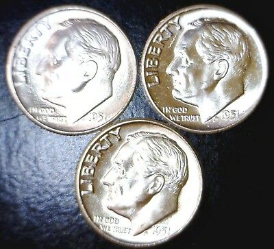 1951 p d & s CH BU SILVER Roosevelt Dimes FLASHY Lot of 3 Coins NO RES FREE SHIP