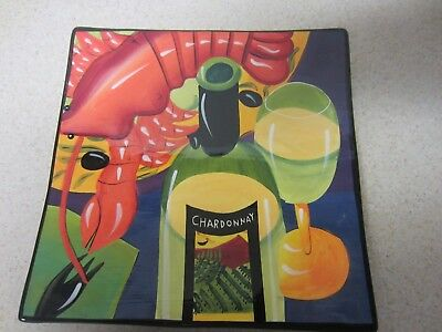 Mary Naylor Hand Painted  Chardonnay Square Hanging Plate