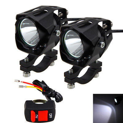 2X T6 LED Motorcycle Driving LED Spot Fog Lights Bracket Switch Universal Mount