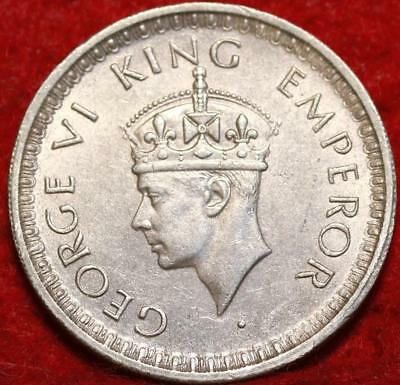 Uncirculated 1943 India 1/2 Rupee Silver Foreign Coin