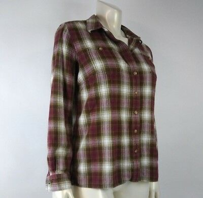 Duluth Trading Co Women Shirt Large Maroon Green Plaid Vented Rollup Button Down