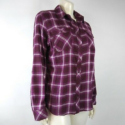 Duluth Trading Co Women Shirt XL Pink Purple Plaid Vented Roll up Button Down
