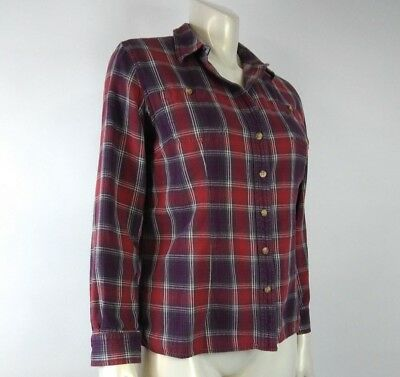 Duluth Trading Co Women Shirt Large Red Purple Plaid Vented Roll up Button Down