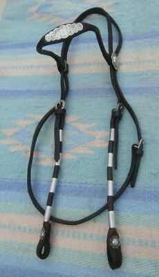 Vintage Rolled Thin Horse Show Headstall Silver Conchos Ferrules Horse Shoe Bkl.
