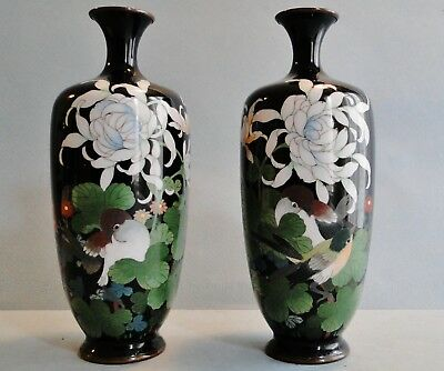 Fine Antique Pair Of Japanese Cloisonne Silver Wire Vases Doves Signed Ota 1880