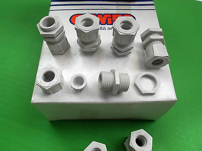 Cable Glands PG9  + Nuts 100pcs  BULK IP66 Nylon Grey GW52002 GEWISS to Clear