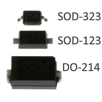 1N5819 SMD Schottky Diodes - 3 Sizes - DO-214 / SOD-123 / SOD-323