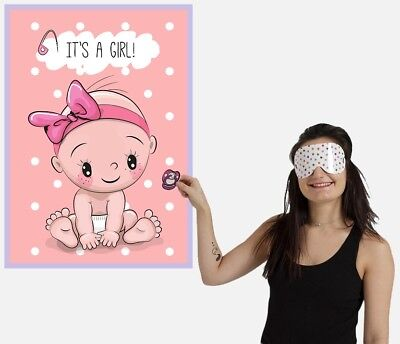 PIN THE DUMMY ON THE BABY Shower Party Game Baby Girl MULTI PLAYER IT'S A GIRL