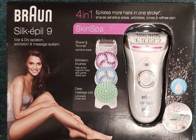 Braun Silk Epil 9 9-961v Women's Wet & Dry Cordless Epilator Exfoliator - NEW