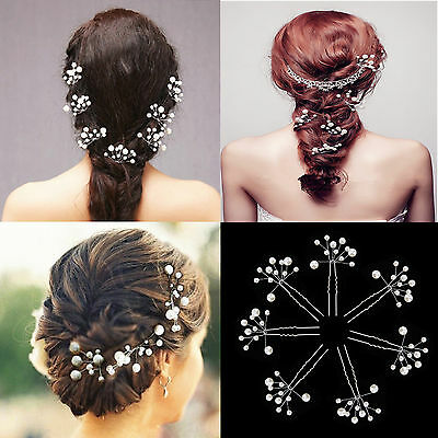 X5 Bridal Hair Pins Pearl Flower Slide Clips Grips Wedding Jewelry Accessories