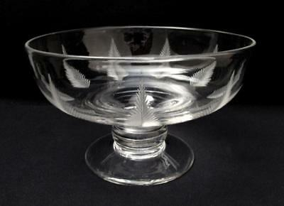 STUART CRYSTAL WOODCHESTER BOWL 1930s ART DECO LARGE FOOTED FERN ENGLAND