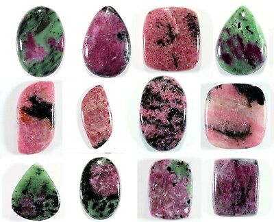 Variations In Natural Ruby Zoisite Rhodonite Cabochon Loose Gemstone Stone_Artt