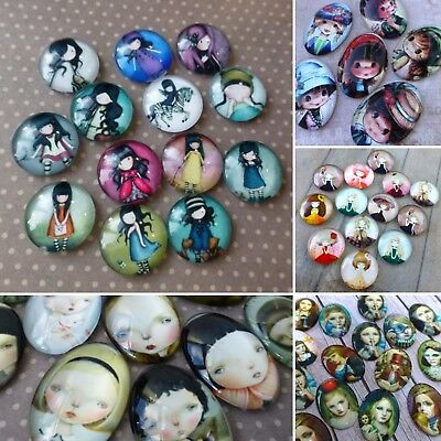 10 x Glass Cabochons, Mix patterns Girls Dolls Children Faces Character Cabochon