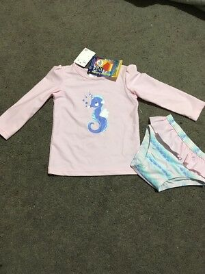BNWT Baby Girls 2 Piece Pink Long Sleeve Bather Rashie Top And Pants Size 00