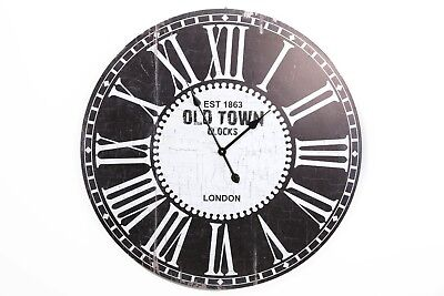 Large Rustic Shabby Chic Wooden Black White 'Old Town' Round Wall Clock