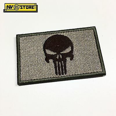 Patch Ricamata Skull Sniper Punisher Navy Seals 8 x 5 cm Militare Velcrata Tan