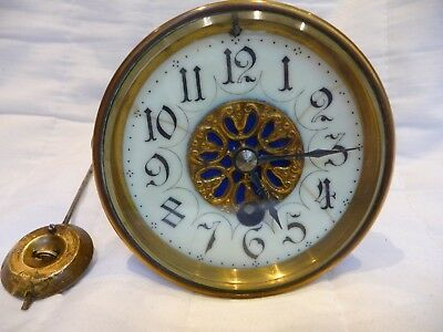 Antique French Small Time Only Clock Movement For Restoration 1890's