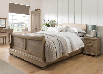 Colton Solid Oak Bedroom Furniture Double Sleigh Bed