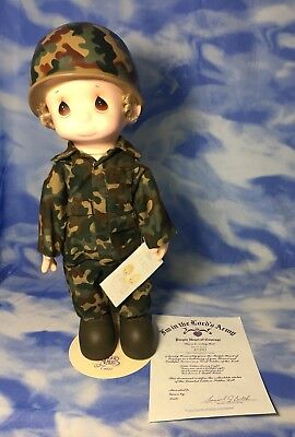 """NEW Vintage Precious Moments Soldier Doll """"I'm in the Lord's Army"""" w/ COA SEALED"""