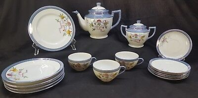 VINTAGE Japan Lusterware Tea Pot Set Hand Painted Marked JYE