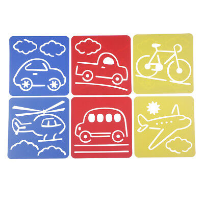 6 Patterns Plastic Carved Drawing Stencil Vehicle Multicolor 5.9x5.5inch