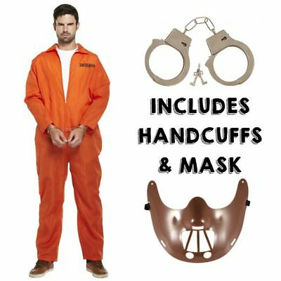 Prisoner Convict Handcuffs Hannibal Mask Fancy Dress Costume Overalls Jumpsuit