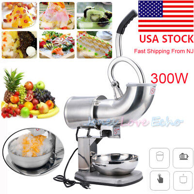 Electric Ice Shaver Machine Snow Cone Maker 440lbs Crusher Shaving Cold Drink US