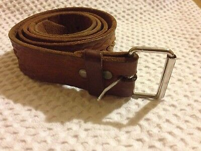 Vintage Brown Leather Belt - with Laced and Tooled Design