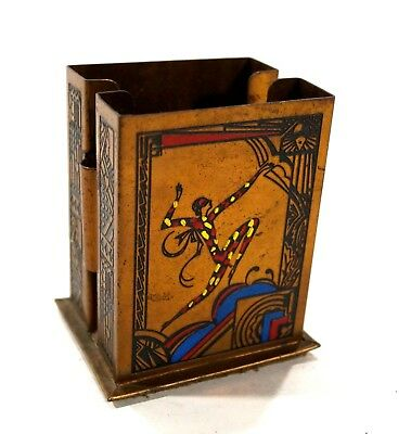Vintage ART DECO Two Deck Playing Card Holder Brass & Enamel Arlechin