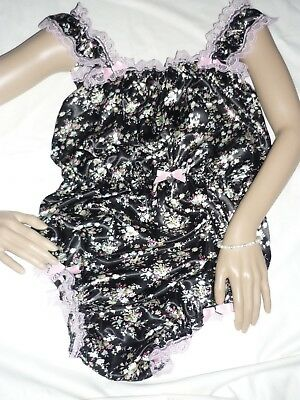 """Sexy Sissy Black vintage floral Satin 30-50"""" All In One BABY DOLL BODY ROMPER CD"""