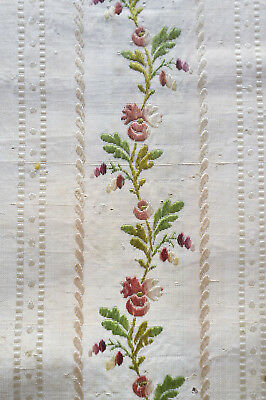 Antique fragment late 18th century  striped brocaded pekin silk from France
