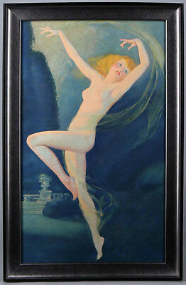 Roy Best Art Deco Nude Scarf Dancer Vintage Pin-up Print Large Vintage '30s Rare