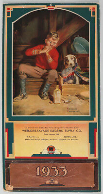 1933 Complete Calendar w/ Westinghouse Electric Advertising Young Lad w/ Pup NR!