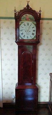 Antique Longcase grandfather clock, mahogany 8 day, Mark Young, Newcastle,