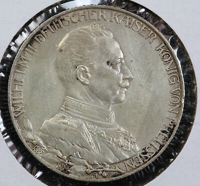 GERMANY PRUSSIA 1913-A KAISER WILHELM II 25th ANNIVERSARY 2 MARK COIN VF KM# 533