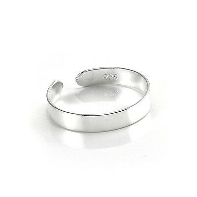 Sterling Silver (925) Adjustable Solid Band ( 3  mm ) Toe Ring !!       New !!