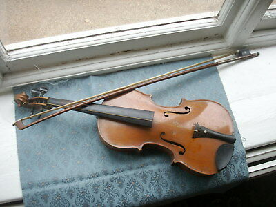 Old Antique Violin and Bow For Restoration as is Vintage Wood String Instruments