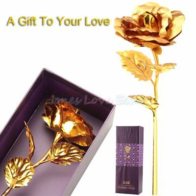 24K Gold Rose Dipped Foil Plated Thanksgiving Valentine's Day Mother Day Gift