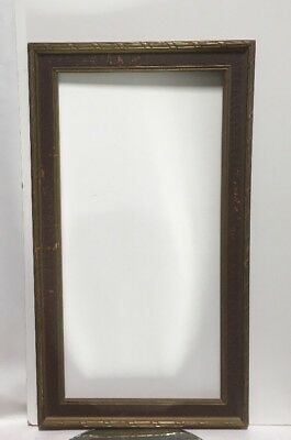 """VTG. Art Deco Arts and Crafts Mission Wood Picture Frame Fits 12"""" x24"""""""