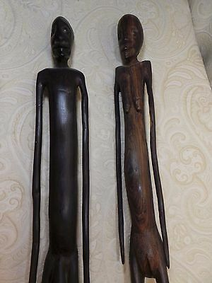 LOT 2 vintage rare African Art Wood Hand Carved Statue man & woman naked RARE