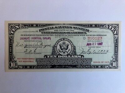 Series of 1917 $10 Postal Savings System Certificate  Desert Center CA EXCELLENT