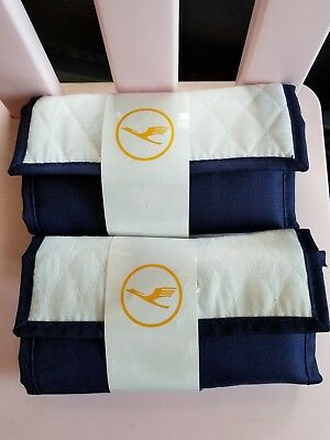 Lot of 2 New Lufthansa Business Amenity kits Soft Fold roll up Quilted rare