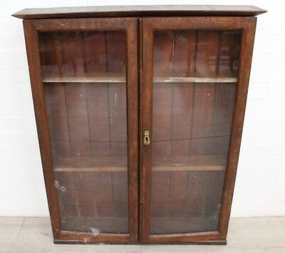Antique Oak Display Cabinet, Salvaged - Good Project For Makeover