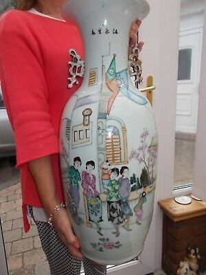 """Stunning Very Large Antique Chinese Vase 22"""" (56Cm) High In Lovely Condition"""