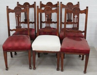 Set 6 Victorian Dining Chairs - All Need Work, Good Project For Handy Person