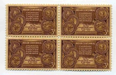 Cherokee Indian Tribes Oklahoma Five Tribes 69 Year Old Mint Vintage Stamp Block