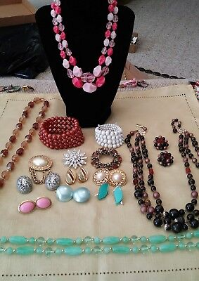 Large Lot of Vintage Necklaces, Brooches and Earrings
