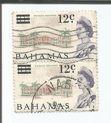 BAHAMAS; PAIR1966 Queen Elizabeth - 10 d Surcharged with Decimal 12c; used *S